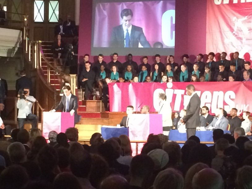 Ed Milliband addresses members of Citizens UK at their pre-election assembly