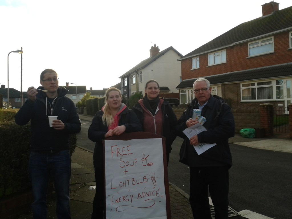 ACE staff and volunteers out in the community on a streetace energy session.